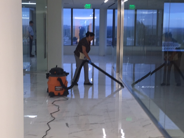 cleaning building